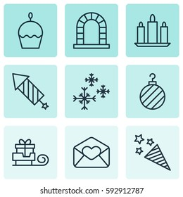 Set Of 9 New Year Icons. Includes Firecracker, Arch, Star Snow And Other Symbols. Beautiful Design Elements.