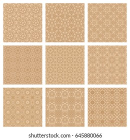 Set of 9 oriental seamless patterns in vector. Backgrounds and wallpapers for your design. Textile ornament.
