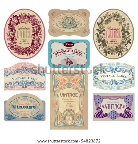 Set 9 Ornate Vintage Labels Vector Stock Vector Royalty Free
