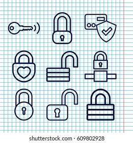 Set of 9 padlock outline icons such as lock, opened lock, key