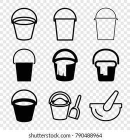Set of 9 pail filled and outline icons such as bucket
