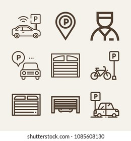 Set of 9 parking outline icons such as parking, valet, garage, placeholder, maps and flags