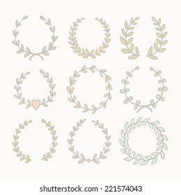 Set of 9 pastel colored wreaths