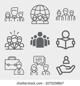 Set of 9 people lineal icons such as team, group, customer, group of people in a formation, management, study, conversation