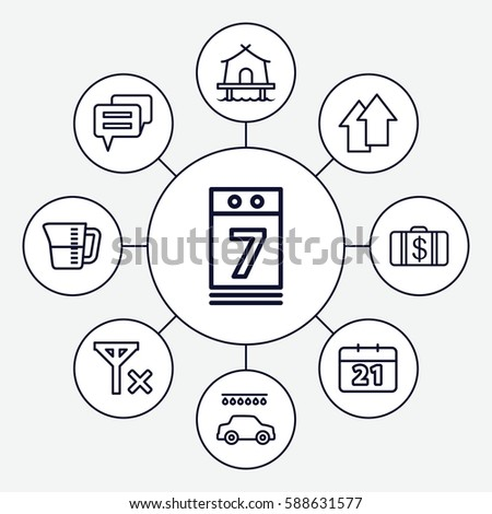 Set 9 Pictogram Outline Icons Such Stock Vector Royalty Free