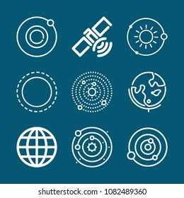Set of 9 planet outline icons such as worlwide, satellite, solar system, orbit, astronomy