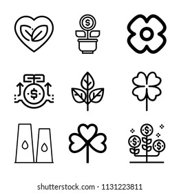 Set of 9 plant outline icons such as investment, growth, leaf, plant, clover, flower