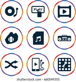 Set of 9 player filled icons such as finger pressing play button, record player, phone and earphones, memory card with music, shuffle, gramophone, play