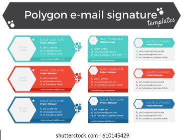 Set of 9 polygon like email signature templates