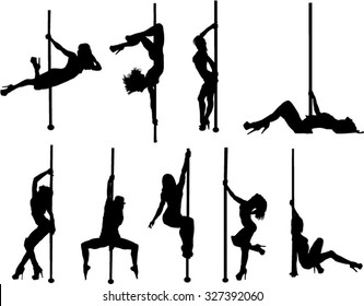 The set of 9 Pool dancer silhouette