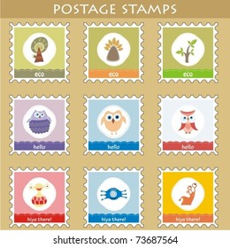 Set of 9 postage stamps