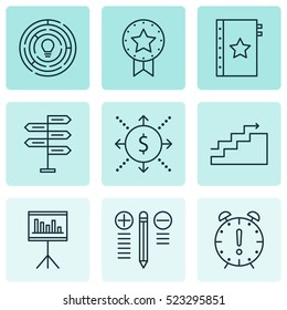 Set Of 9 Project Management Icons. Can Be Used For Web, Mobile, UI And Infographic Design. Includes Elements Such As Win, Idea, Quality And More.