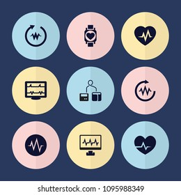 Set of 9 pulse filled icons such as heartbeat, blod pressure tool