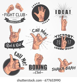 A set of 9 realistic emblems, logo. Gestures of arms, fight club, call me, idea, shaka, rock and roll. Typographic labels, stickers, logos and badges. Flat vector illustration