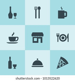 Set of 9 restaurant filled icons such as wine, coffee, pizza, fork and spoon, store, tea, platter