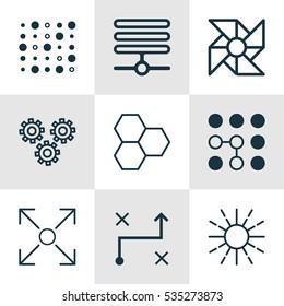 Set Of 9 Robotics Icons. Includes Computing Problems, Solution, Lightness Mode And Other Symbols. Beautiful Design Elements.