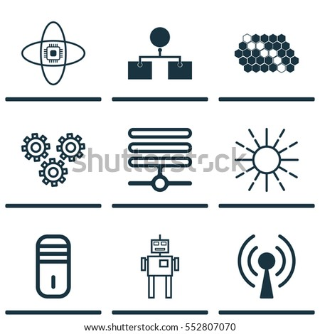 Set 9 Robotics Icons Includes Atomic Stock Vector Royalty Free