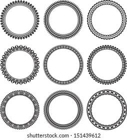 Set of 9 round frames