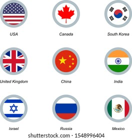 Set of 9 round icons with flags. USA, United Kingdom, South Korea, Canada, China, India, Israel Russia and Mexico