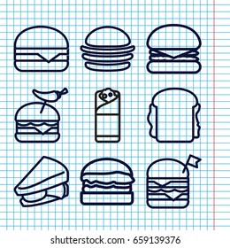 Set of 9 sandwich outline icons such as burger, sandwich, double burger with flag, burger with pepper, cheeseburger