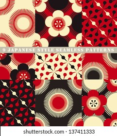 A set of 9 seamless japanese style floral patterns.