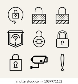 Set of 9 secure outline icons such as exclamation, lock, lock, padlock, unlocked, locked, shield