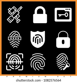Set of 9 security filled icons such as media password, locked, padlock, paintball, fingerprint scan