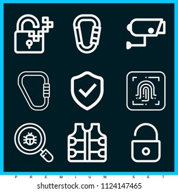 Set of 9 security outline icons such as padlock, vest, carabiner, shield, security camera, fingerprint scan