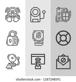 Set of 9 security outline icons such as email, password, alarm, steering, padlock, lifesaver, document