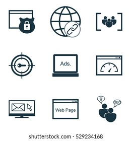 Set Of 9 SEO Icons. Can Be Used For Web, Mobile, UI And Infographic Design. Includes Elements Such As Search Optimization, Questionnaire, Digital Media And More.