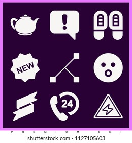 Set of 9 shapes filled icons such as store new badges, edges, footprints, vintage teapot, warning, 24 hours support, surprise