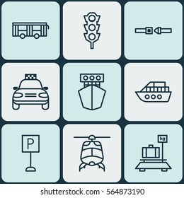 Set Of 9 Shipping Icons. Includes Vehicle, Car Vehicle, Safety Belt And Other Symbols. Beautiful Design Elements.
