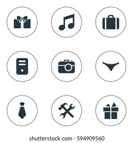 Set Of 9 Simple Accessories Icons. Can Be Found Such Elements As Present, Cravat, Digital Camera And Other.