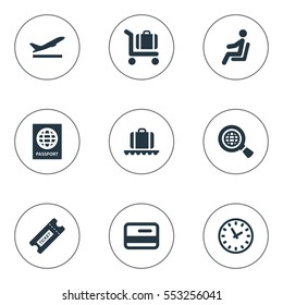 Set Of 9 Simple Airport Icons. Can Be Found Such Elements As Global Research, Luggage Carousel, Credit Card And Other.