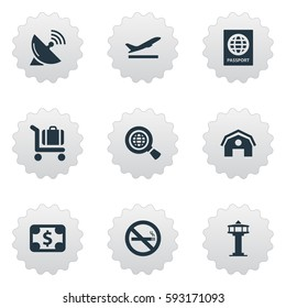 Set Of 9 Simple Airport Icons. Can Be Found Such Elements As Currency, Cigarette Forbidden, Baggage Cart And Other.