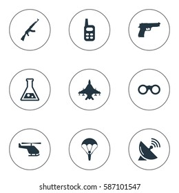 Set Of 9 Simple Army Icons. Can Be Found Such Elements As Kalashnikov, Pistol, Helicopter And Other.