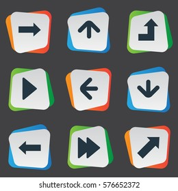 Set Of 9 Simple Arrows Icons. Can Be Found Such Elements As Increasing, Indicator, Advanced And Other.