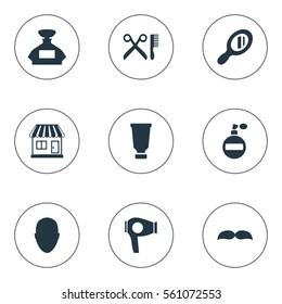 Set Of 9 Simple Barber Icons. Can Be Found Such Elements As Drying Machine, Aroma, Reflector And Other.