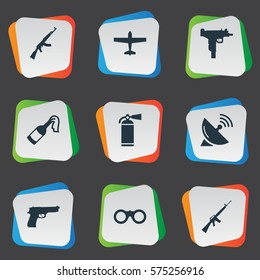 Set Of 9 Simple Battle Icons. Can Be Found Such Elements As Air Bomber, Pistol, Molotov And Other.