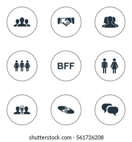 Set Of 9 Simple Buddies Icons. Can Be Found Such Elements As Gossip, Bff, Friendship And Other.