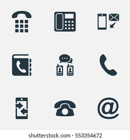 Set Of 9 Simple Connect Icons. Can Be Found Such Elements As Telephone, Telephone Directory, New-Come Letter And Other.