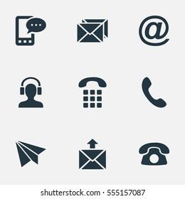 Set Of 9 Simple Connect Icons. Can Be Found Such Elements As Postal, Correspondence, Earpiece And Other.