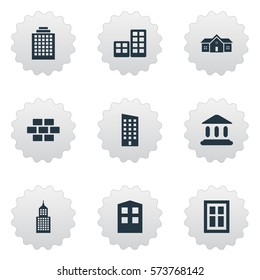Set Of 9 Simple Construction Icons. Can Be Found Such Elements As Floor, Residence, Booth And Other.