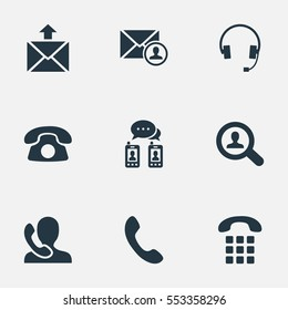 Set Of 9 Simple Contact Icons. Can Be Found Such Elements As House Phone, Job Research, Posting And Other.