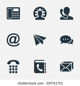 Set Of 9 Simple Contact Icons. Can Be Found Such Elements As Intercommunication, Dialogue, Telephone Directory And Other.