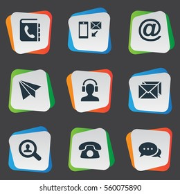 Set Of 9 Simple Contact Icons. Can Be Found Such Elements As Dialogue, Correspondence, Aircraft And Other.