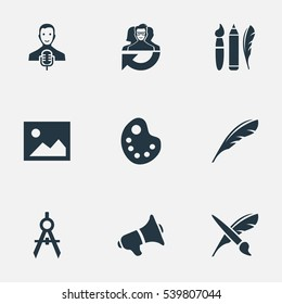 Set Of 9 Simple Creative Thinking Icons. Can Be Found Such Elements As Image, Design Instruments, Plume And Other.