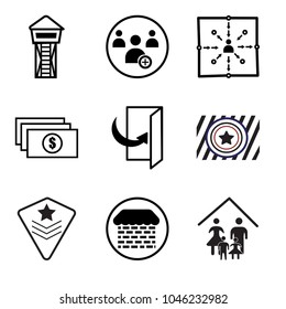 0f6eef1e Set Of 9 simple editable icons such as our family, brick and mortar, air