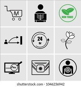 Set Of 9 simple editable icons such as become a member, Airforce, proactive, beauty parlour, 24 hr, disposition, non toxic, radiologist, shop cart m, can be used for mobile, web UI