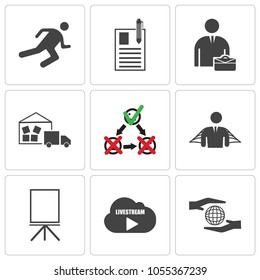 Set Of 9 simple editable icons such as social responsibility, livestream, flipchart, honest, satisfied customer, warehouse management, internship, registration, stamina, can be used for mobile, web UI, pixel perfect icons